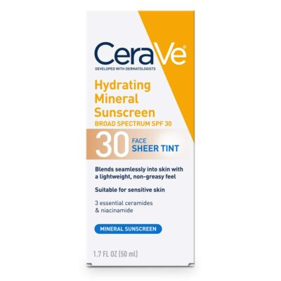 CeraVeTinted Mineral Face Sunscreen Lotion SPF 30
