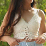 White Lace Bustier Tie-up Top